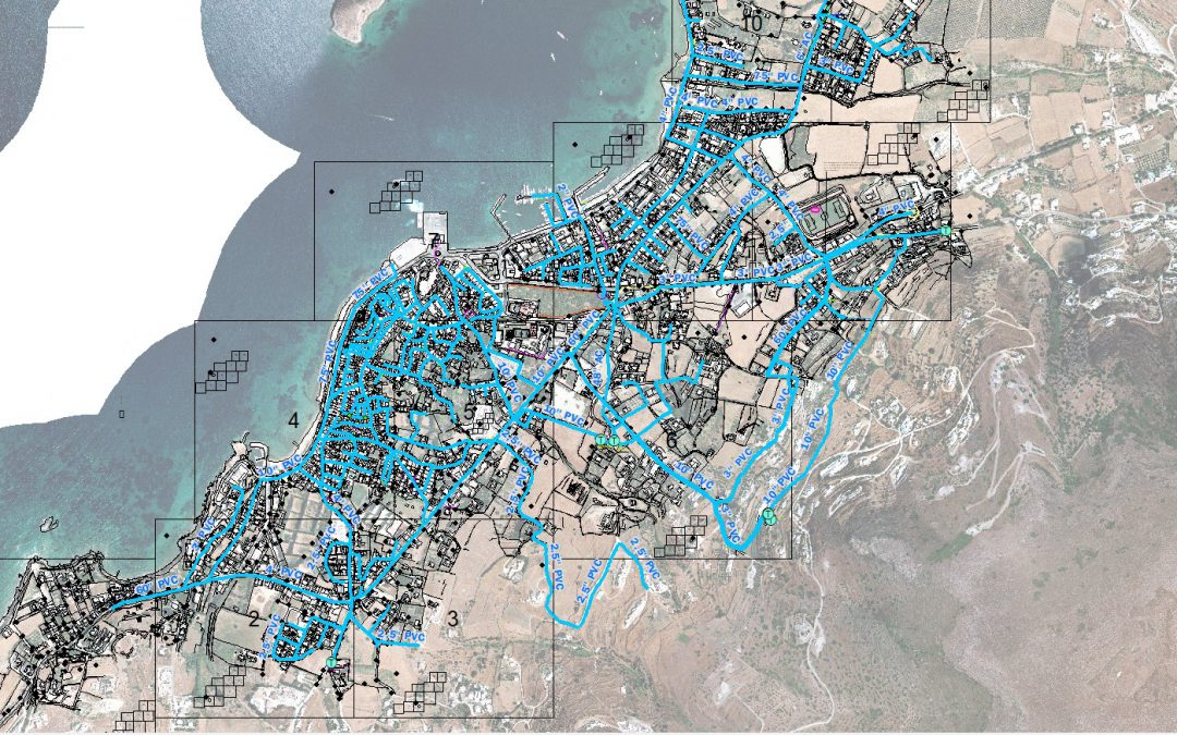 Paros' water supply and sewerage Company- Detection and depiction of the water supply network in the settlement of Paroikia.